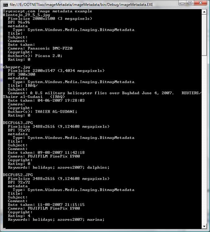 Image Metadata example screenshot