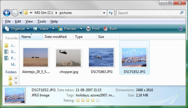 Vista Explorer showing image metadata