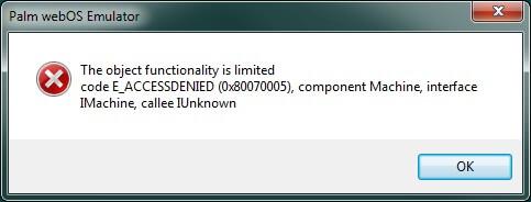 WebOS Emulator error E_ACCESSDENIED (0x80070005), The solution