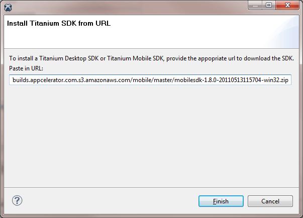 Titanium Studio, install SDK from URL